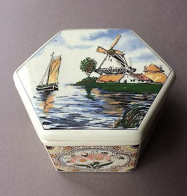 Vintage Painted Polychrome Covered Dish/ Succulent Planter Holland Windmill