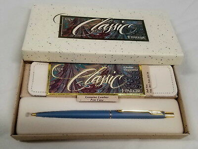 "1989 Vintage Parker Lady Classic, ""Smoke"" Blue Ball Pen, Made in USA"