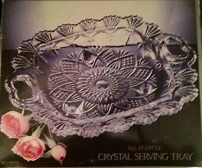 "NEW 10.5"" Crystal Serving Tray All Purpose ALCO #00015 Crystalia Corp."