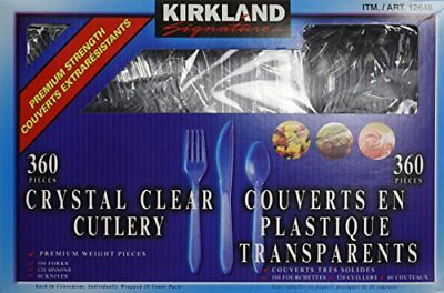 KIRKLAND SIGNATURE CRYSTAL CLEAR CUTLERY 360 ct DISPOSABLE FORK, SPOON, KNIFE