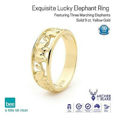 9k Carat Yellow Gold Ring Good Luck Women 3 Marching Elephant Raised Trunks New