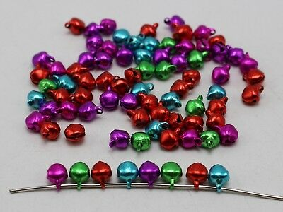 100 Mixed Color Iron Jingle Bells Beads Charms 6mm Decoration DIY Craft