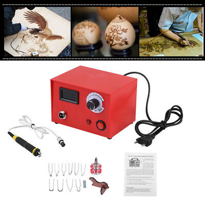 220V Multifunction Pyrography Machine Gourd Wood Burning Pen+Tips Woodworking IS