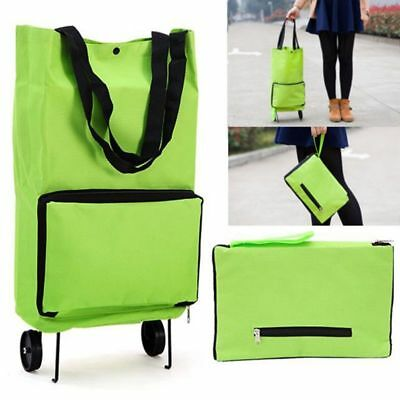 Green Protable Shopping Trolley Tote Bag Foldable Cart Rolling Grocery Wheels Ki