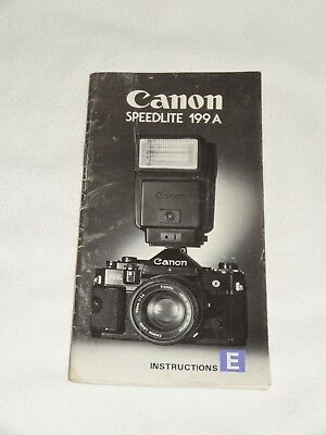 Canon Speedlite 199A 199 A Camera Flash Instruction Book Manual Only *Original*