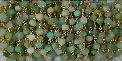 Chrysoprase Beads Gold Plated Wire Rosary Chain / Beaded Chain Size 3-4mm 10 FT