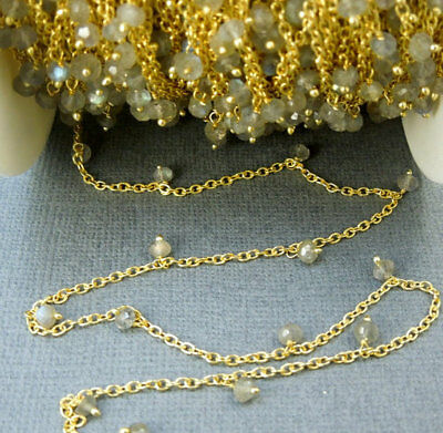 10 Ft Labradorite Dangle Gold Plated Rosary Beaded Link Chain Beads Size 3-4mm