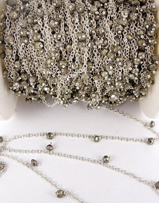 10 Feet Natural Pyrite Dangle Silver Plated Rosary Beaded Link Chain Size 3-4mm
