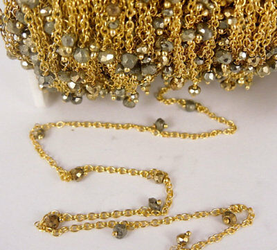 10 Feet Natural Pyrite Dangle 24k Gold Plated Rosary Beaded Link Chain Size 3-4m
