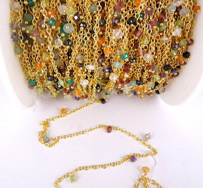 10 Feet multi gemstone Dangle 24k Gold Plated Rosary Beaded Link Chain Size 3-4m