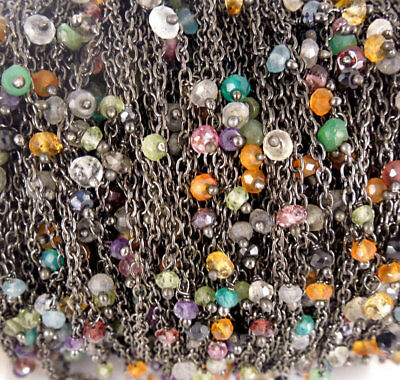 10 Feet multi gemstone Dangle Oxidized Wire Rosary Beaded Link Chain Size 3-4mm