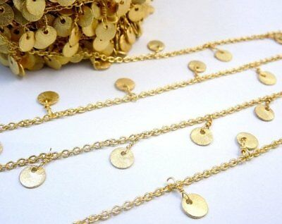 10 Feet Copper Round Dangling Charm Rosary Beaded Chain 24K Gold Plated Wire