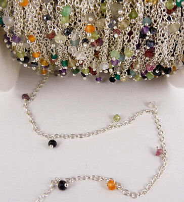 10 Feet multi gemstone Dangle Silver Plated Rosary Beaded Link Chain Size 3-4mm