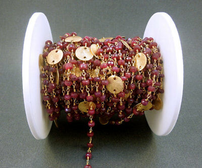 10 Feet Red Aventurine 24k Gold Plated Wire Rosary Beaded Link Chain Size 3-4mm