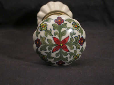 vintage set of Floral Porcelain Door Knobs Handles brass fittings ornate