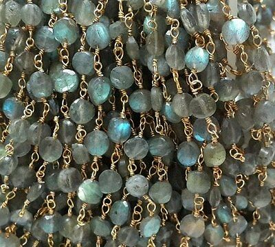 10 FEET Labradorite Faceted Coin 24k Gold Plated Rosary Chain / Beaded Chain