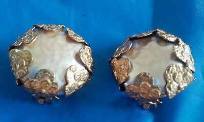 Vintage Miriam Haskell Faux Baroque Pearls Gold Tone Clip On Earrings
