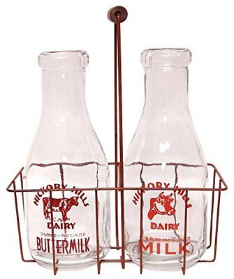 "CWI Gifts Large Vintage Milk Bottles with Carrier, 12"" x 9.5"""
