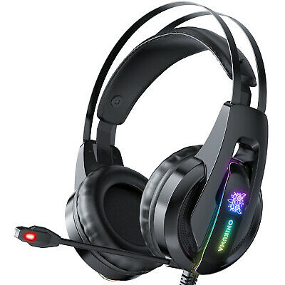 EACH 3.5mm Gaming Headset MIC LED Headphones for PC Laptop PS4 Slim Xbox One X S
