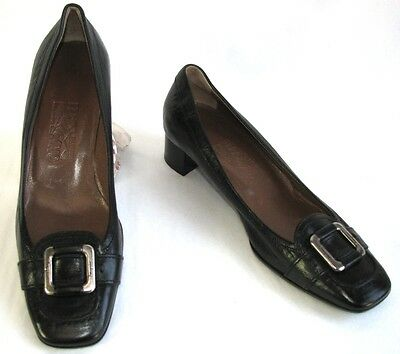 Salvatore Ferragamo Shoes Small Heels all Leather Black 38 Mint