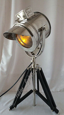 Vintage Spotlight Chrome Finish Table Tripod Stand Light  Home Decor Item