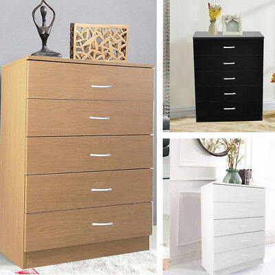 Tall Slim White/Black Chest of 5 Drawers Woode Storage Five Draw Units Cabinet