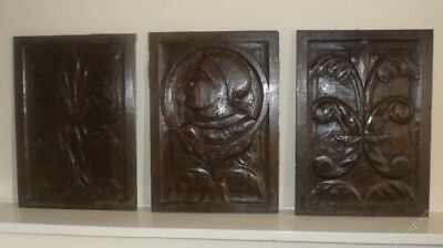 Fine Rare Set Of Three Early 16th Century Carved Oak Coffer Panels c1520