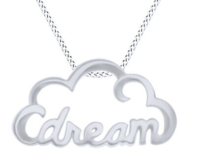 Dream Cloud 14K Gold Over Stamp Pendant Necklace Sterling Silver Valentine's Day