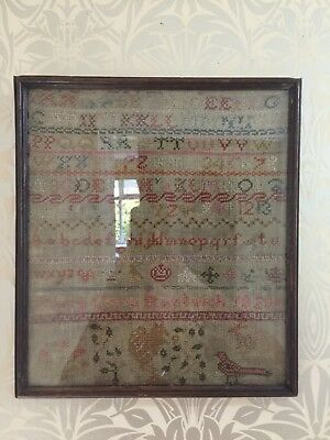 Original Rare Early 1820 Child's Sampler Embroidery Cross-stitch Sample