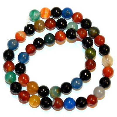 """Natural Mixed Color Agate 4mm Round Gemstone Beads 15"""""""