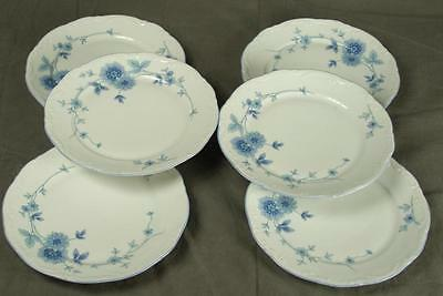 6 Mitterteich Bavaria Germany MIT161 Blue Floral China Salad Dessert Plates HH