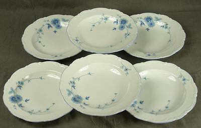 6 Mitterteich Bavaria Germany MIT161 Blue Floral Fine China Rim Soup Bowls (HH)