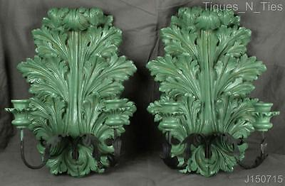 Pair Vintage Shabby Decorator Rococo Style Green Candle Holder Wall Sconces (JJ)