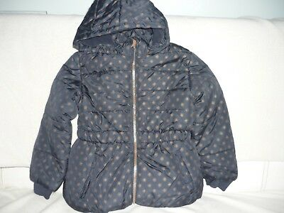 Girls Padded Puff Jacket Navy  gold spots hooded sizes 1.5 to 7 Gt4 cold weather
