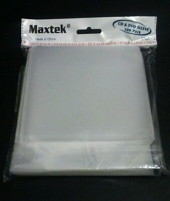 Maxtek CD & DVD CLear Plastic Sleeve Protectors 100 Pack New & Factory Sealed!