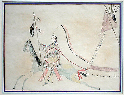 25%OFFSale.....Cheyenne Ledger Drawing WALKING WOMAN 'Chief and Tipi', Ca 1919