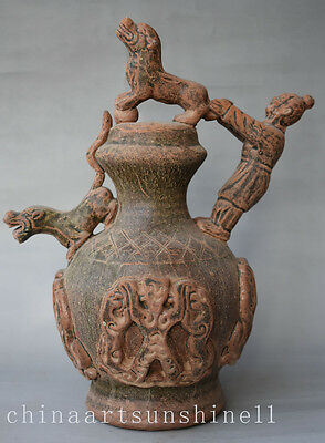 Exquisite Chinese Old Porcelain Backflow Pot Handmade Carved Tiger&People Statue