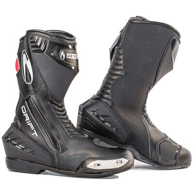 Richa DRIFT Black Sports Motorcycle Waterproof Boots + FREE PAIR SOCKS QZ