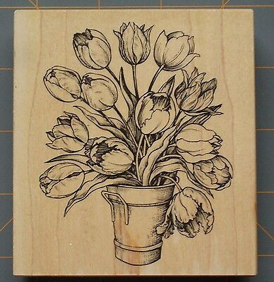 """Psx """"bucket Full Of Tulips"""" Large Rubber Stamp ~ Pretty Botanical~ Art Collage"""