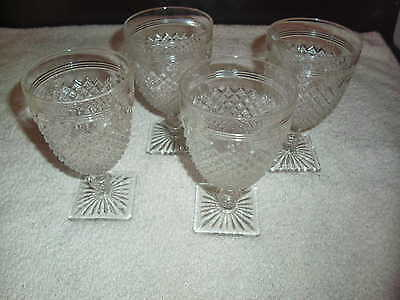 Crystal Clear Miss America Depression Glass set of 4 water goblet stems OLD