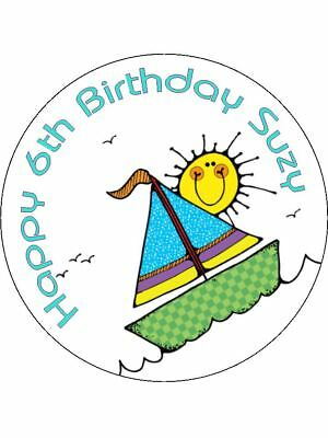 Nautical Boat Sea *Personalised circular stickers*45mm*Party Bag Cone*Kids