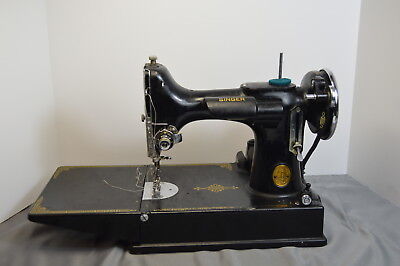 Vintage Singer Featherweight 221 Sewing Machine With Case and Some Attachments