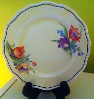 Vintage Steubenville Ivory Bread And Butter Plates (2) With Floral Pattern