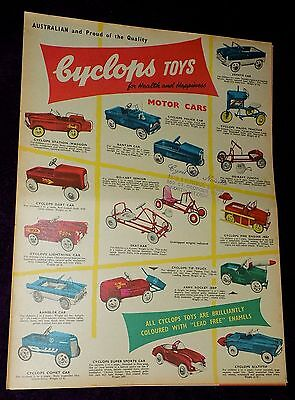CYCLOPS Australia PEDAL CAR Tricycles TOY CATALOG Scalextric VINTAGE Triang Bike