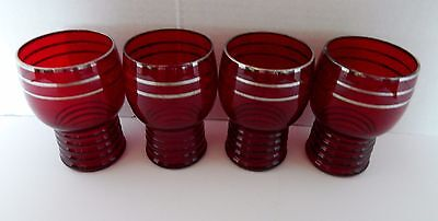 Schaeffer Ruby Platinum by Imperial Glass Cordial Glasses Ribbed Bottom Lot of 4