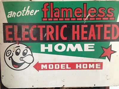 Vintage Sign. Original advertising an electric heated home.