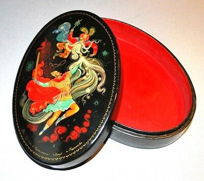"""Vintage Russian Lacquer Box Hand Painted """"Ruslan and Chernomor"""" 1970s"""