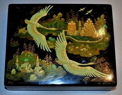 """Vintage Russian Lacquer Box """"Swans Flying North"""" by Starikova GORGEOUS!"""