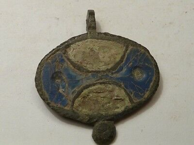 1796	Ancient Roman bronze pendant with white and blue enamel.