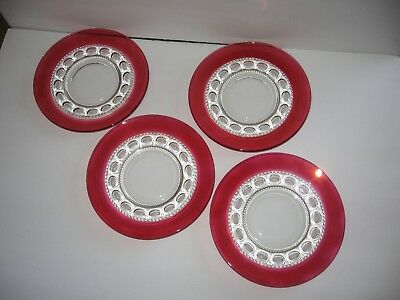 Nice Vintage Cranberry Colored Set of 4  Plates measuring 8 1/4 inches wide